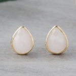Crown Studs Gold/Rose Quartz