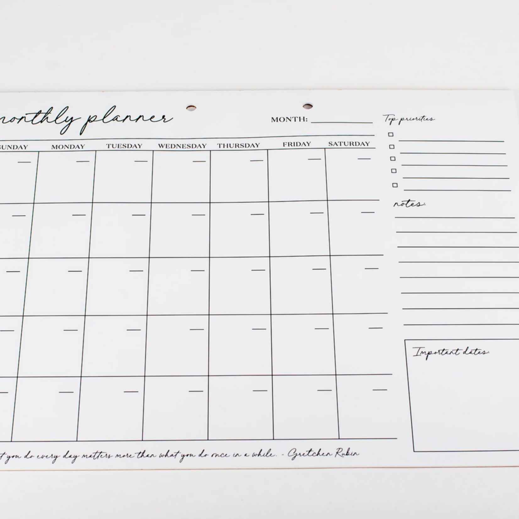 Wrinkle and Crease Start your own Date - Monthly Planner