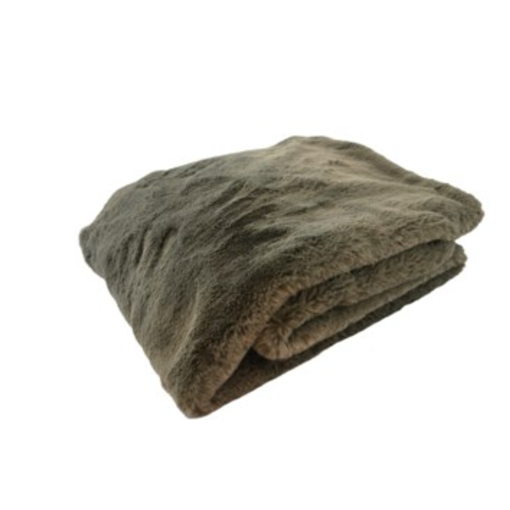 Faux rabbit throw taupe