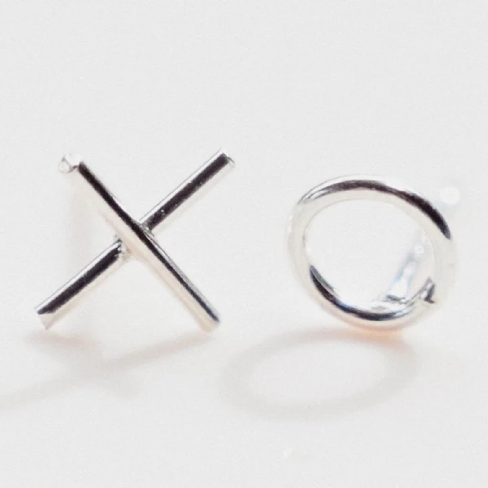 xo earrings silver