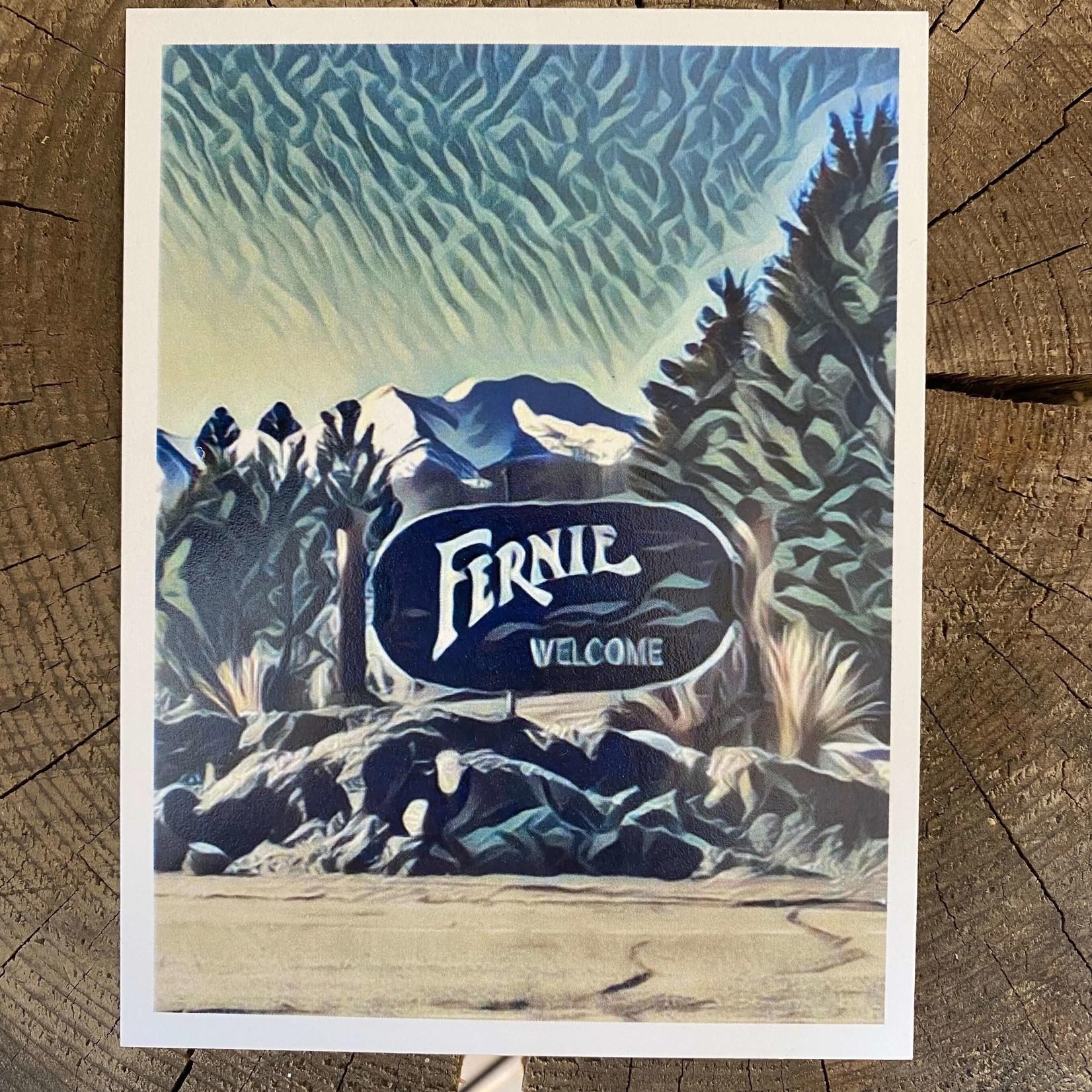 Tannis McDonald Fernie Welcome Sign Postcard