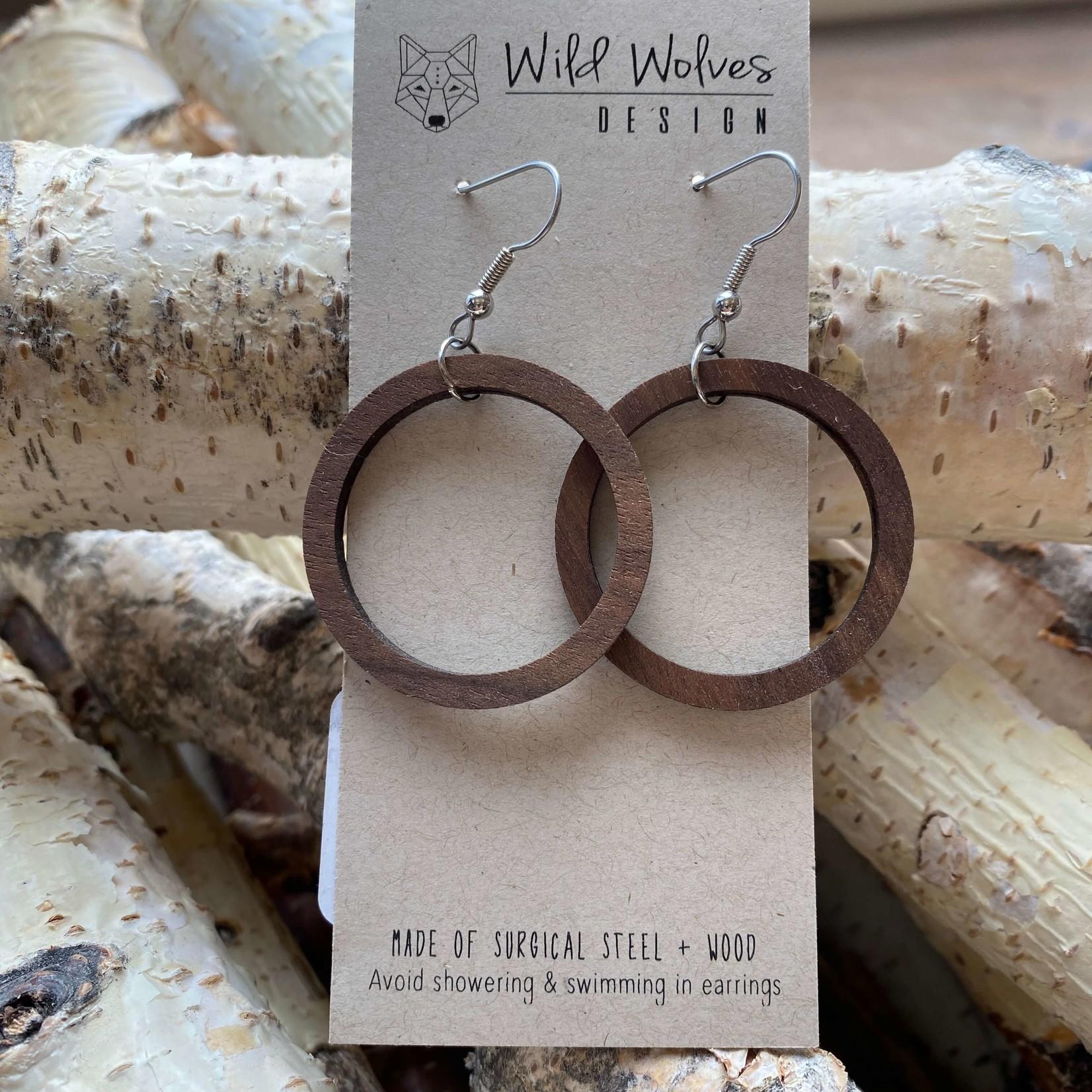 Wild Wolves Design Wild Wolves Walnut Hoop Earring