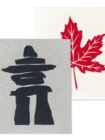 Abbott Inukshuk & maple leaf dishcloth