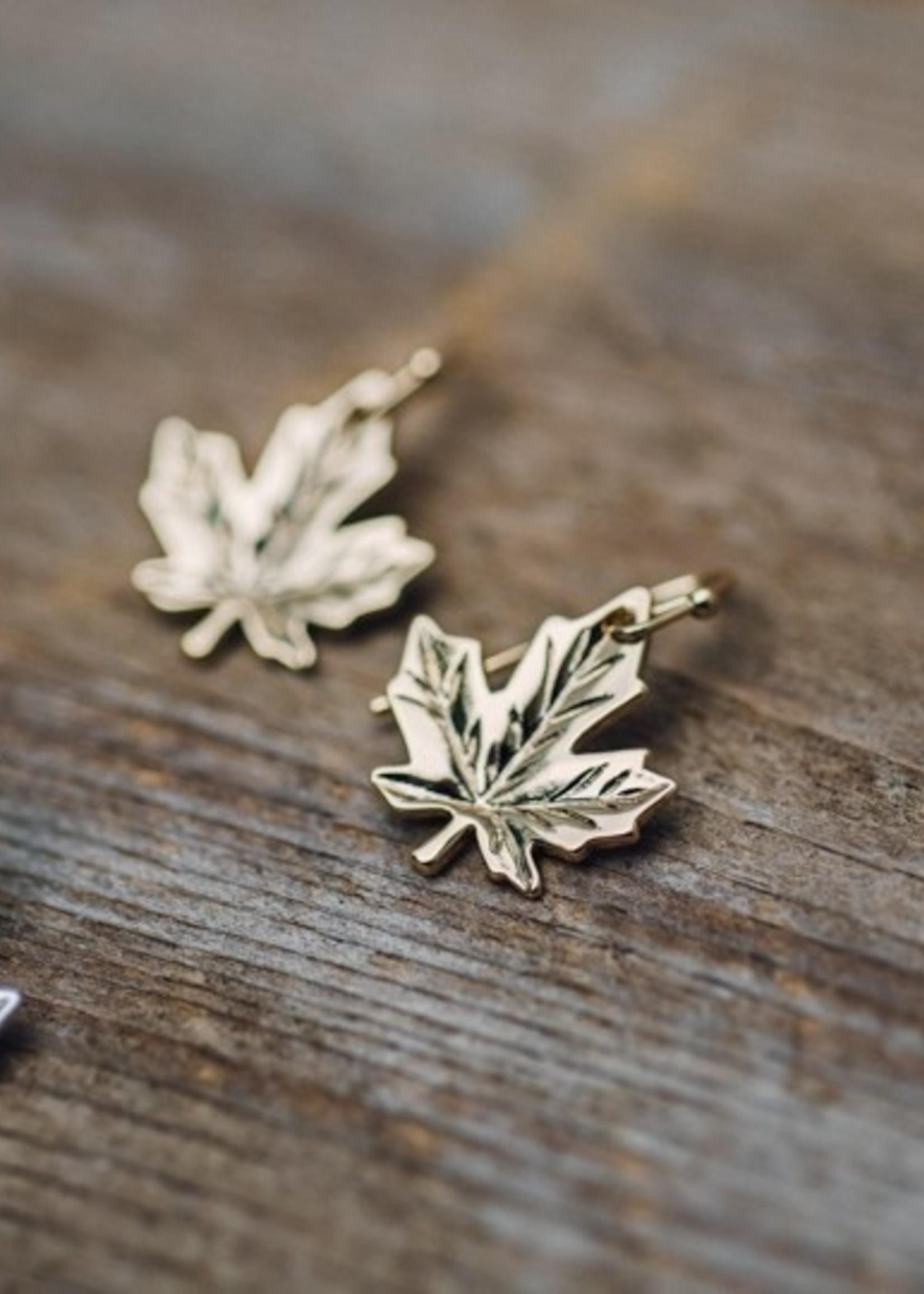 Glee Jewelry Gold Maple Leaf earrings