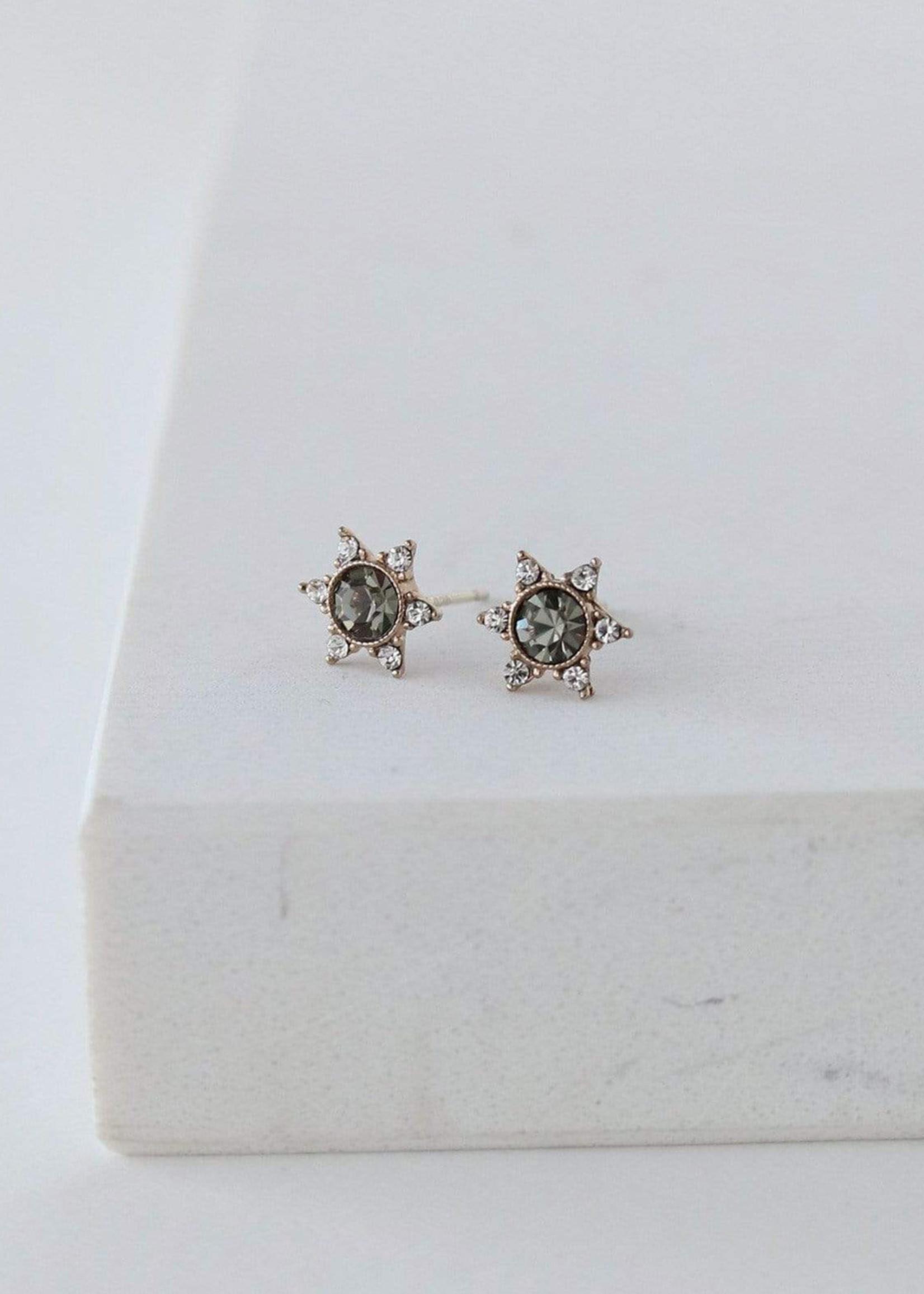 Starlit Stud Earrings Black Diamond