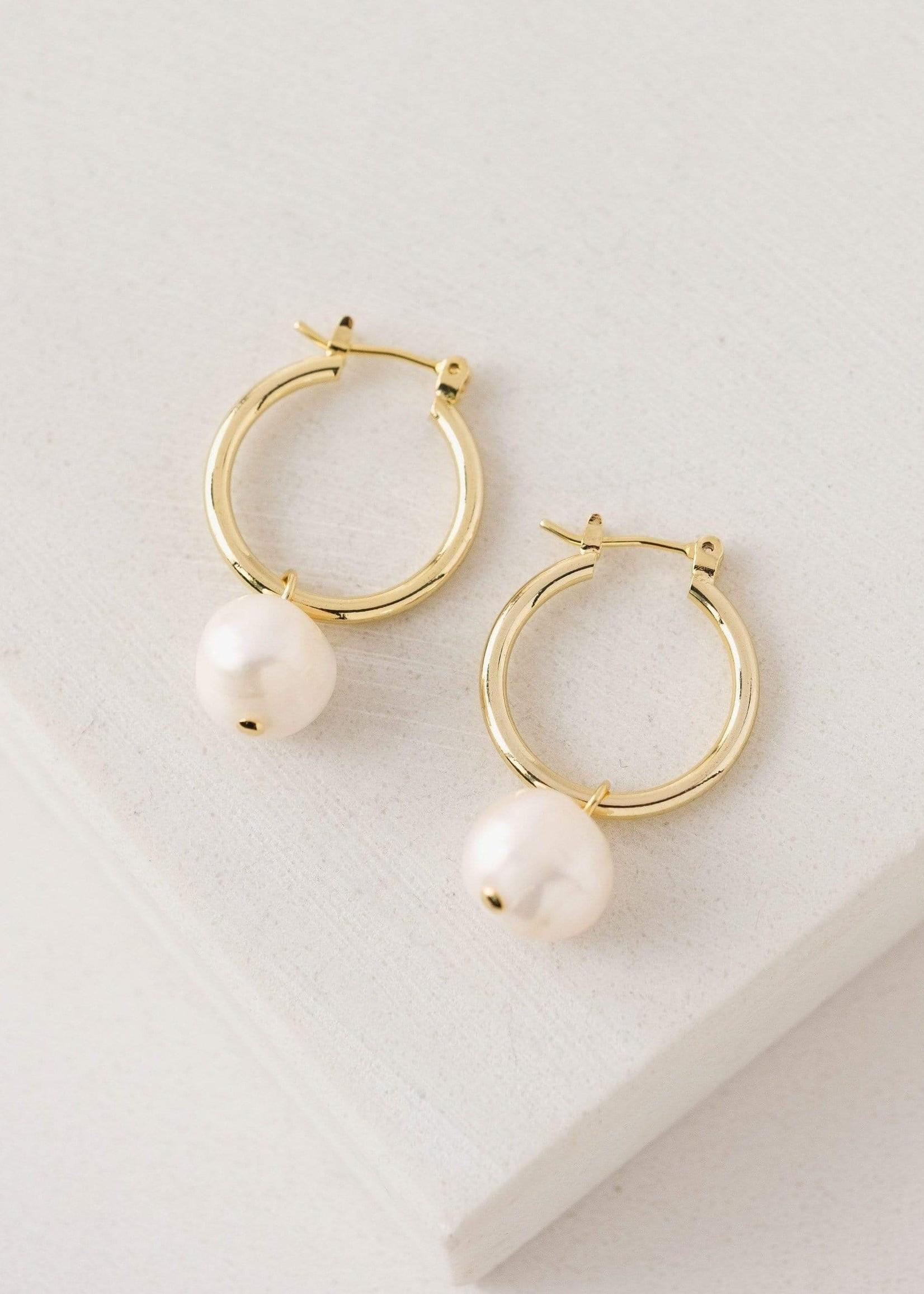 Andie Pearl Hoop Earrings Gold