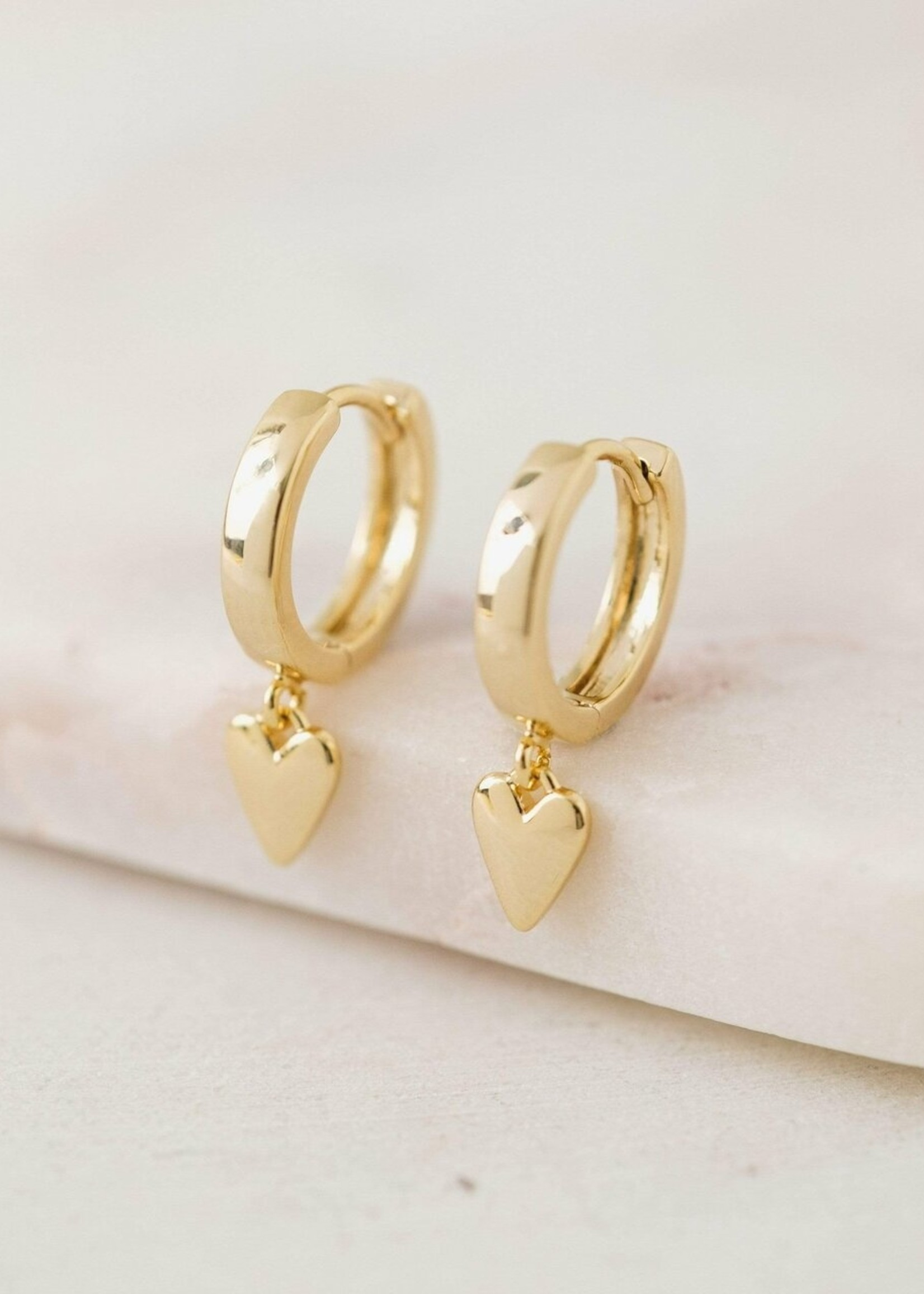 Everly Heart Huggie Hoop Earrings Gold