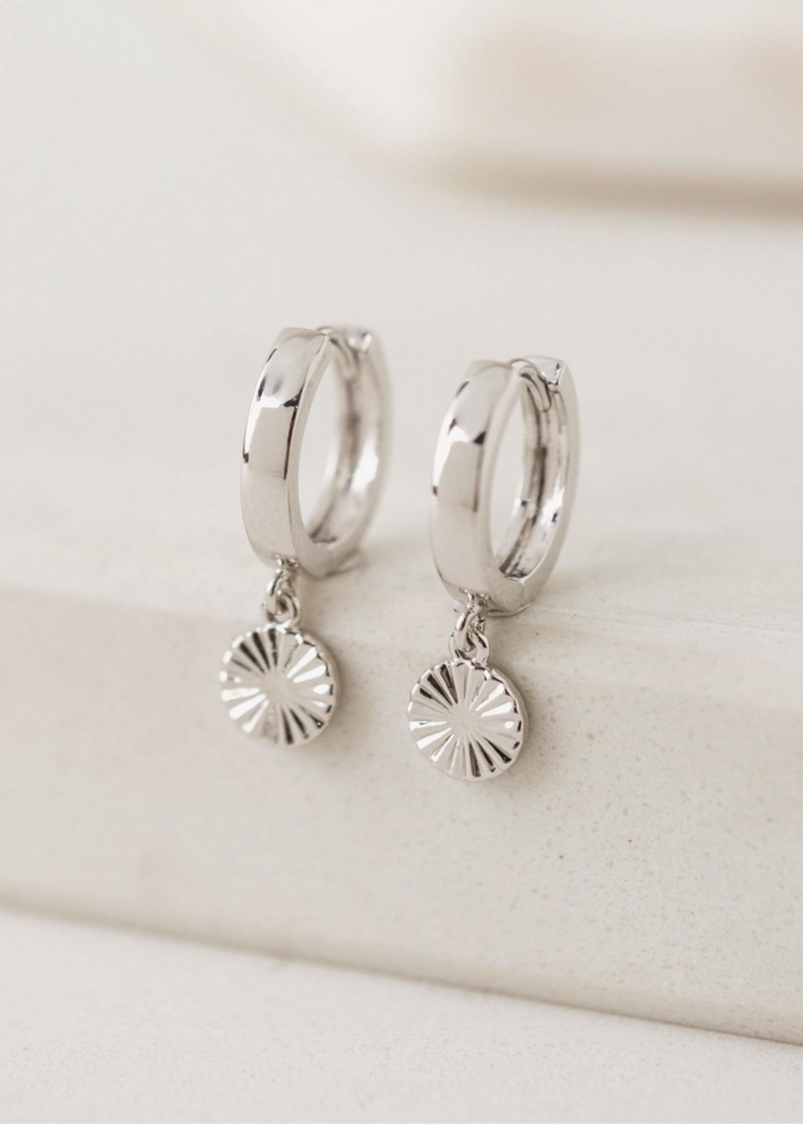 Everly Circle Huggie Hoop Earrings Silver