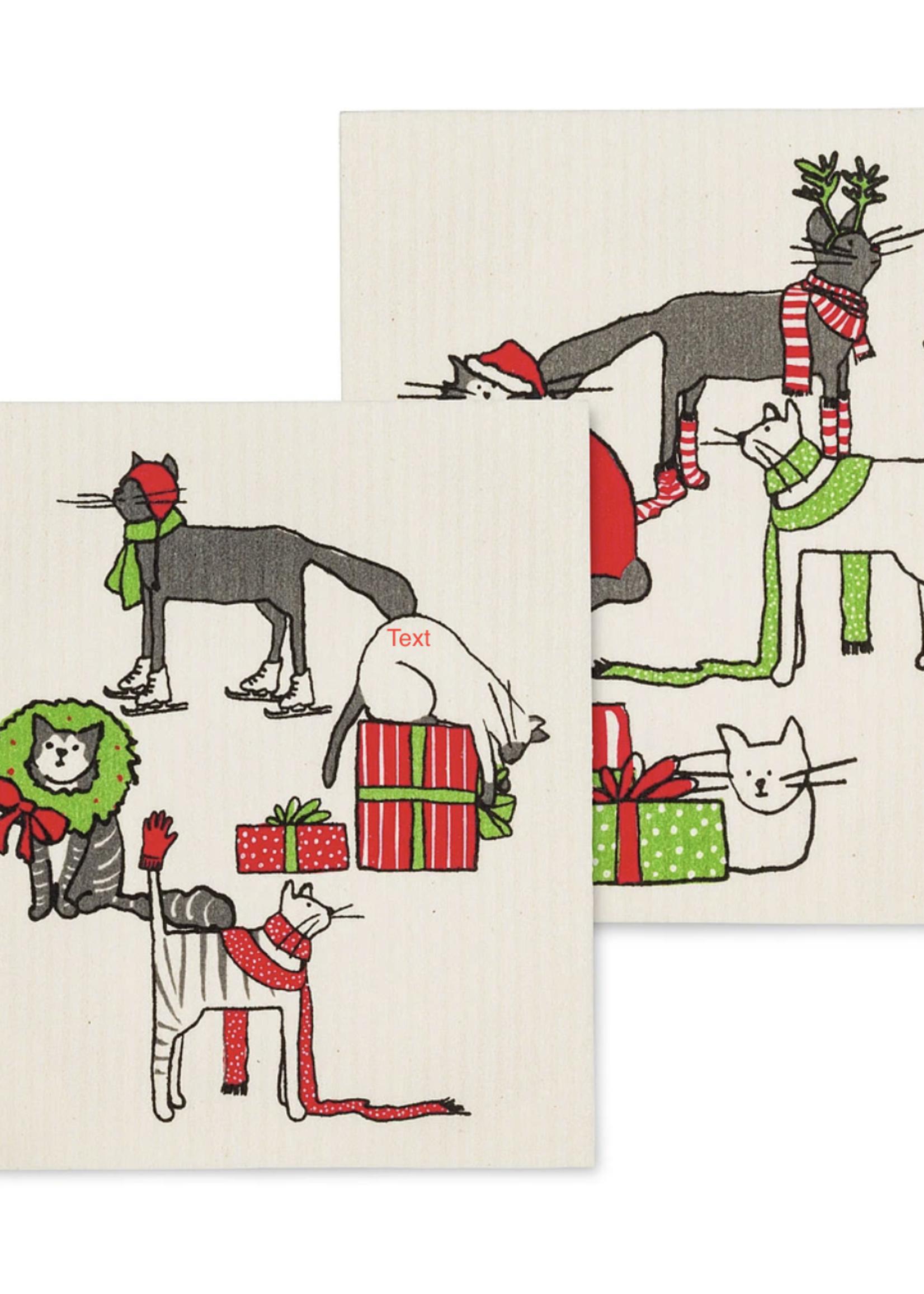Abbott S/2 Swedish Dishcloth Holiday Cat