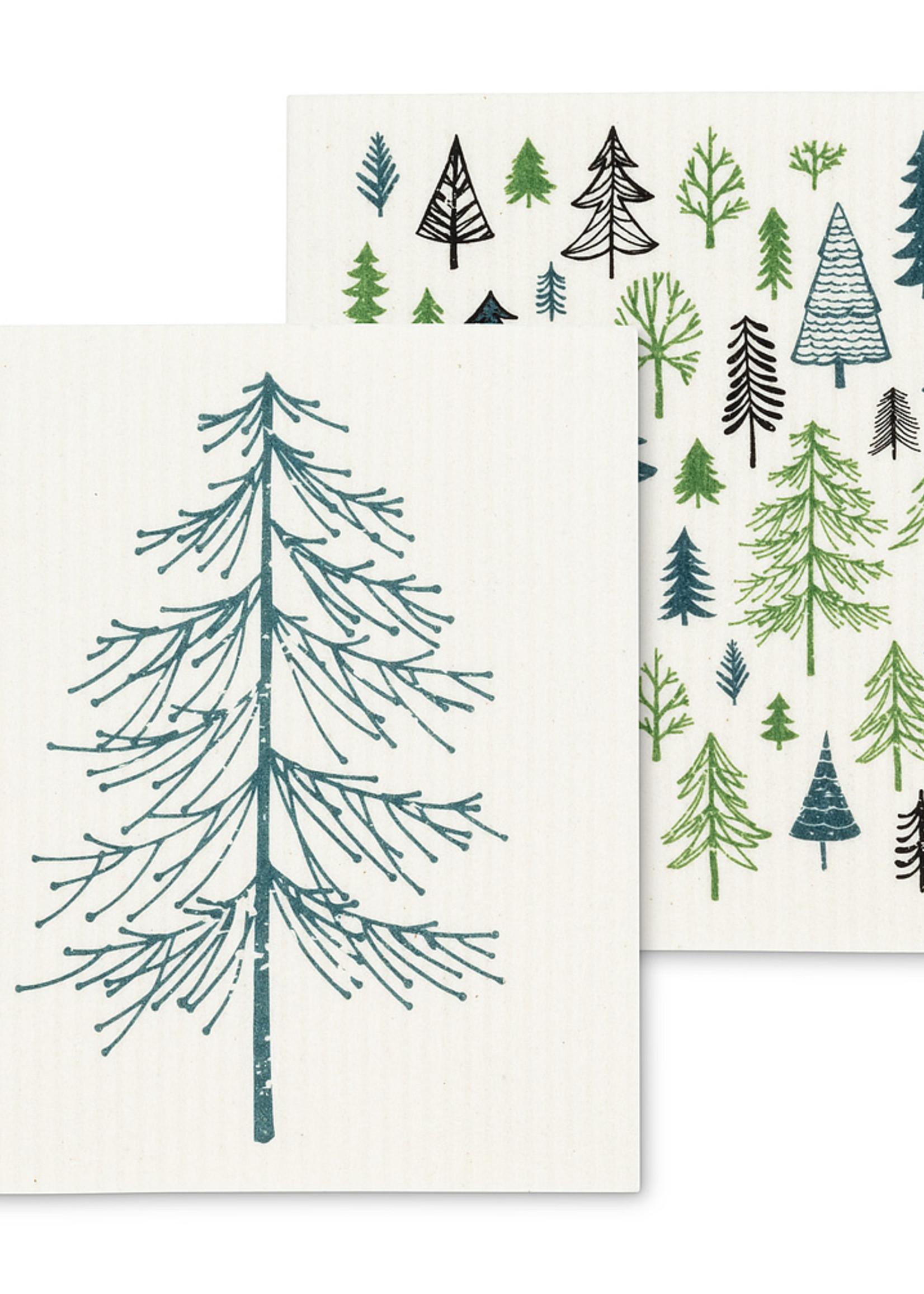 Abbott S/2 Swedish Dishcloths (All Over Trees)