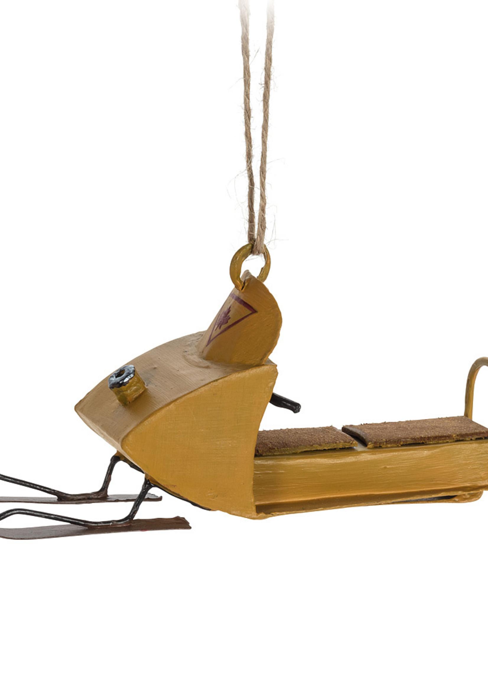 Abbott Yellow Snowmobile Ornament