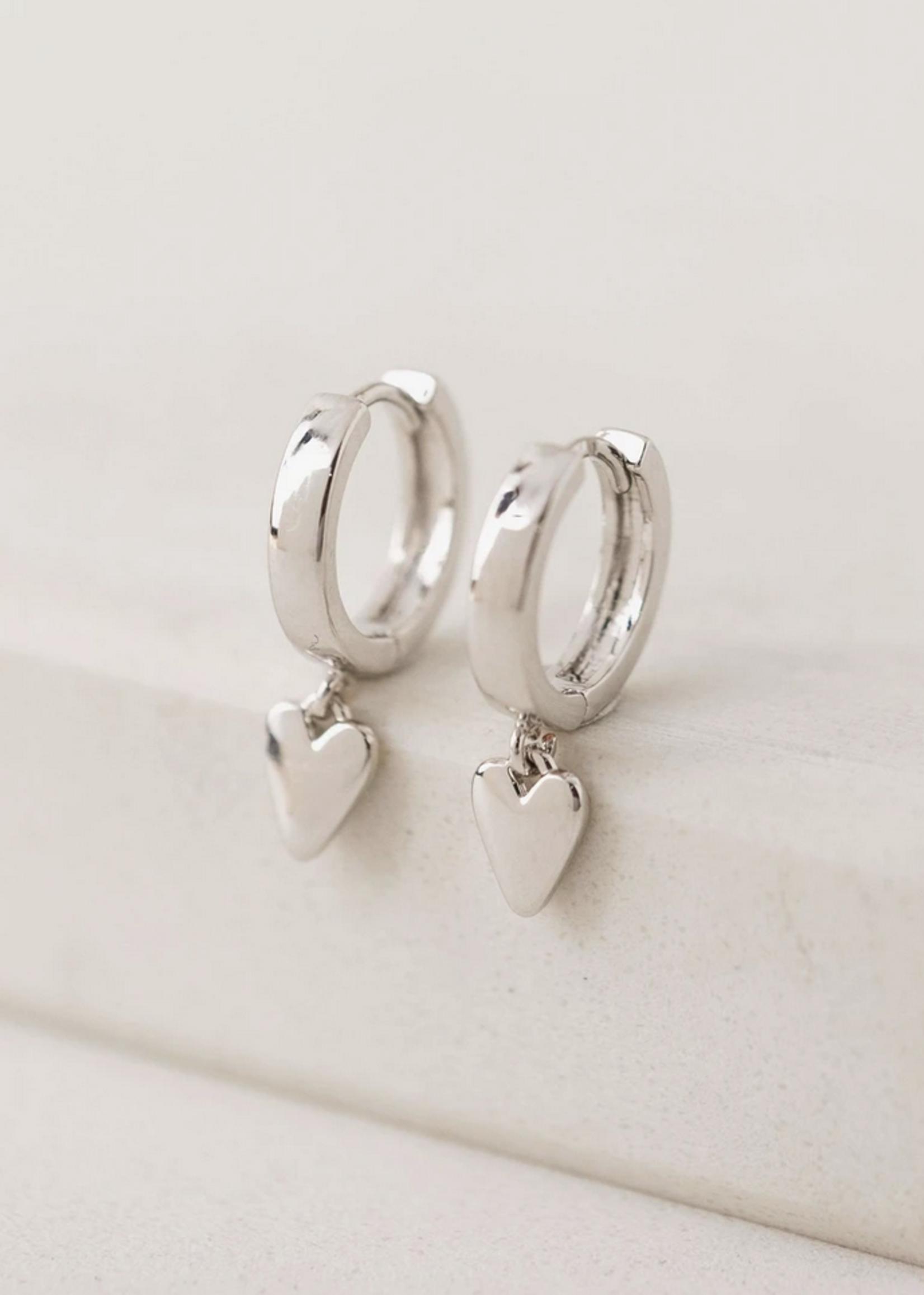 Everly Heart Huggie Hoop Earrings Silver