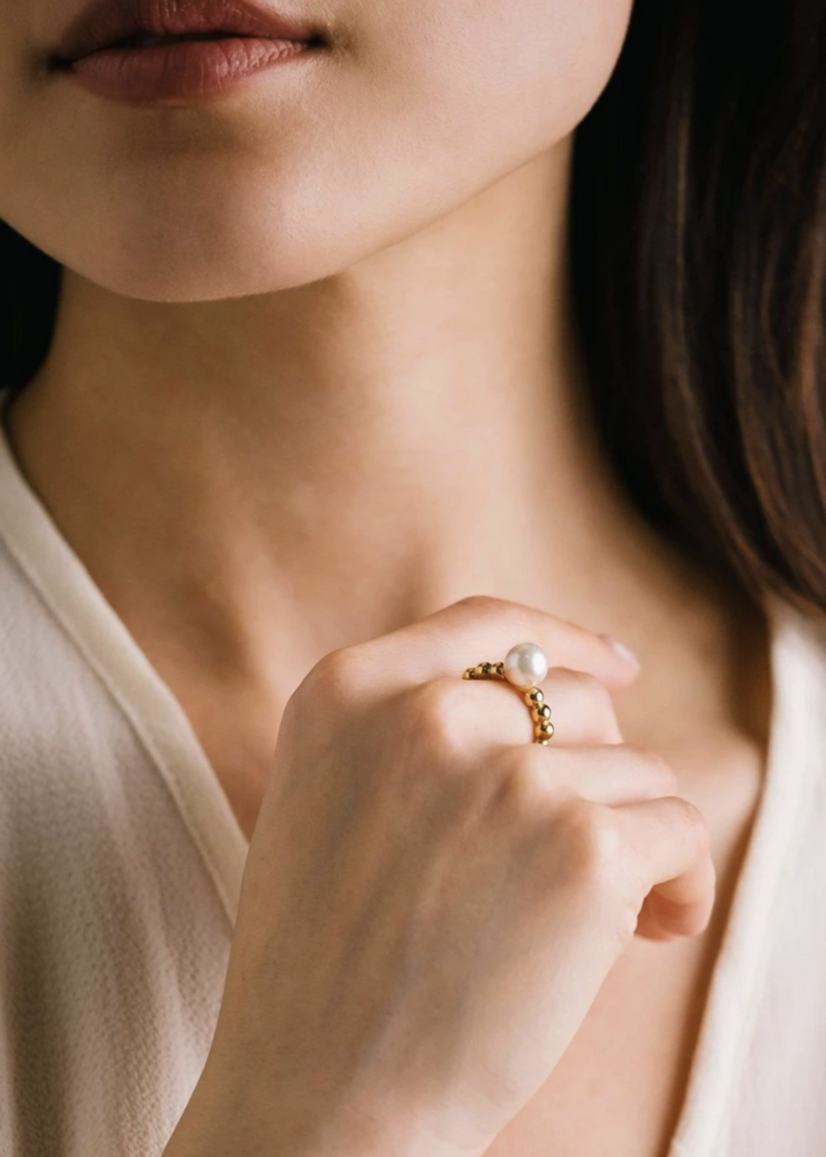 Steff Pearl Ring Gold