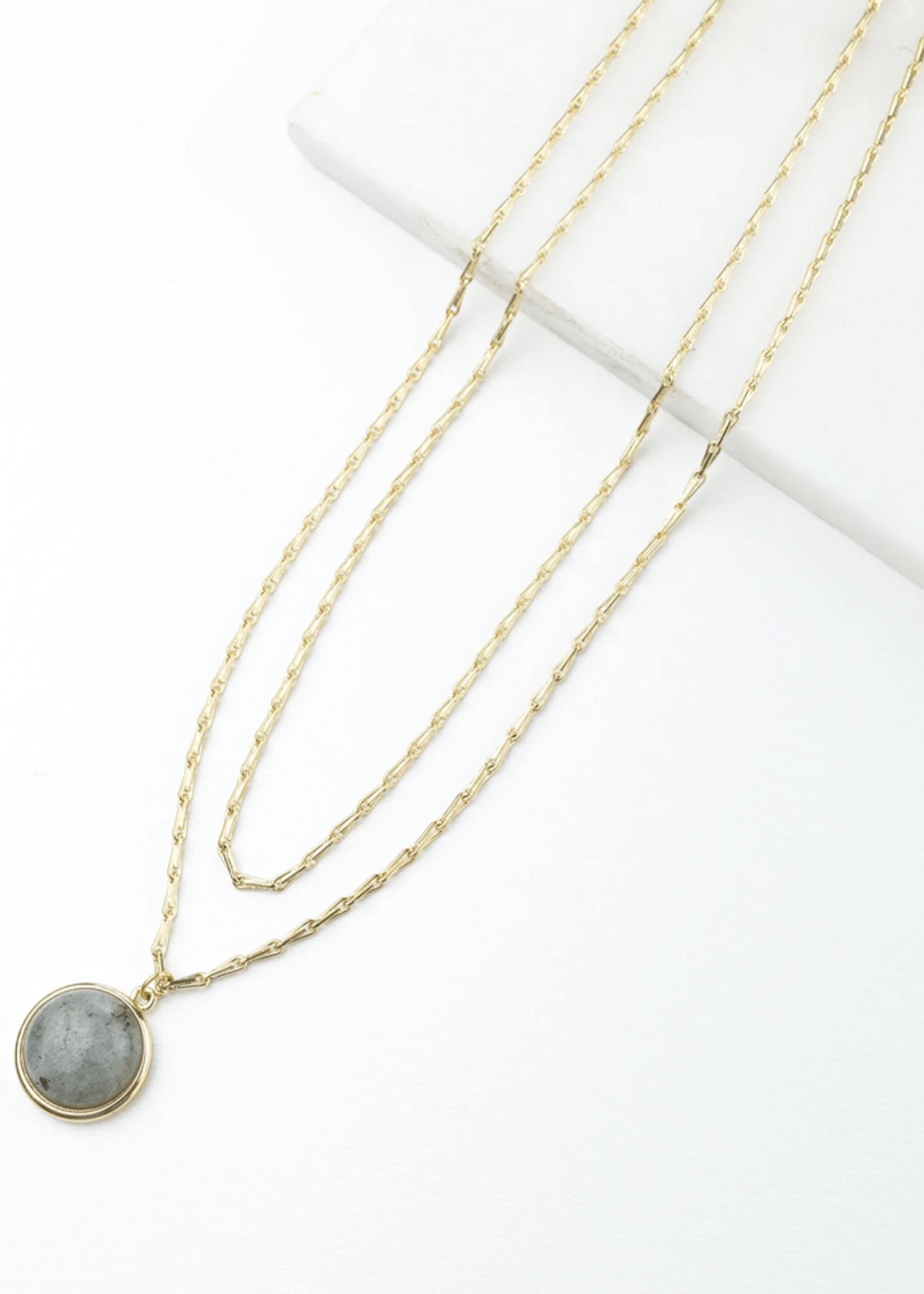 Aura Double Necklace Grey