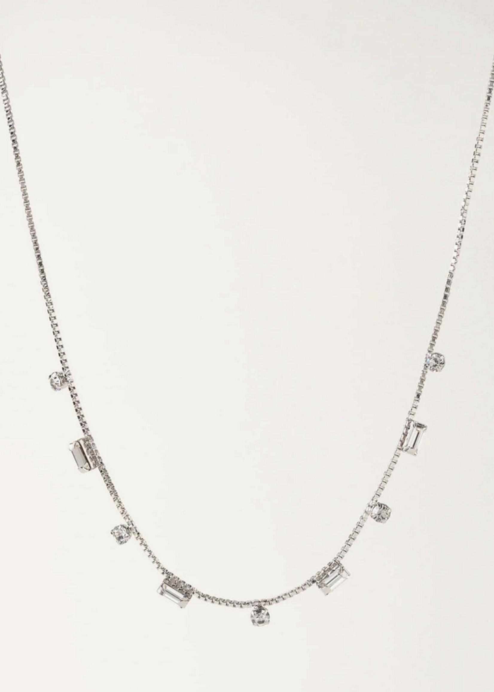 Josie Crystal Necklace Silver