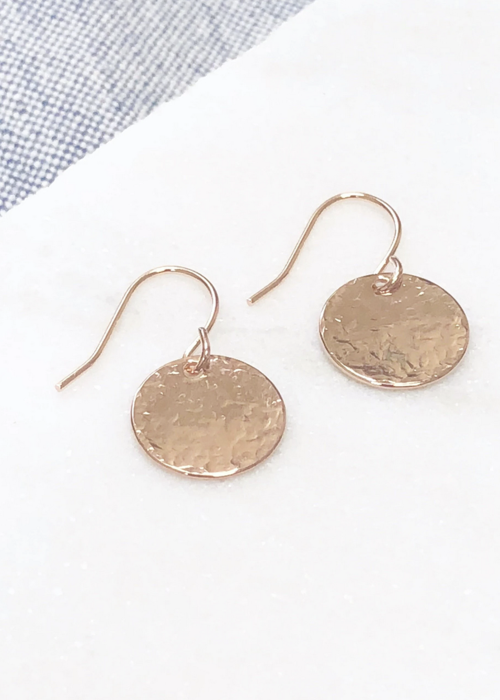 Glee Jewelry Hammered disc earring rose gold