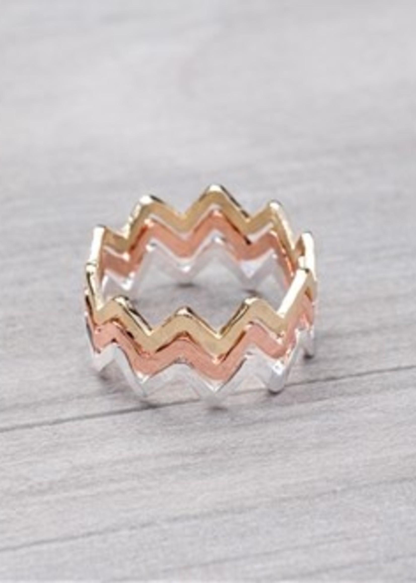 Glee Jewelry zigzag ring set of 3