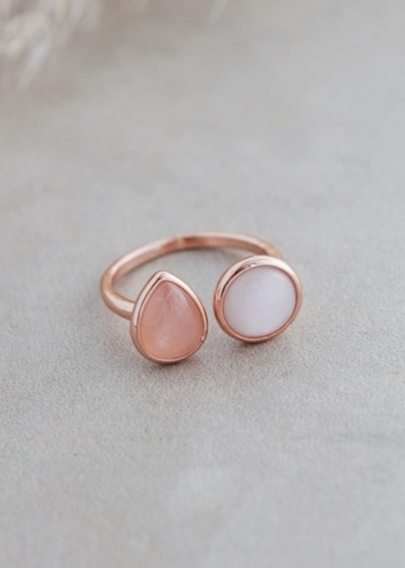 Glee Jewelry Duet Ring Rose quartz/Moonstone
