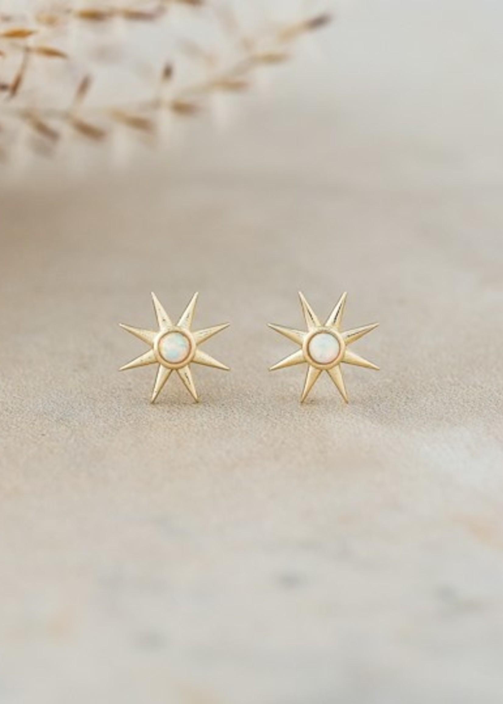 Glee Jewelry Soleil Studs/Gold/Opaline