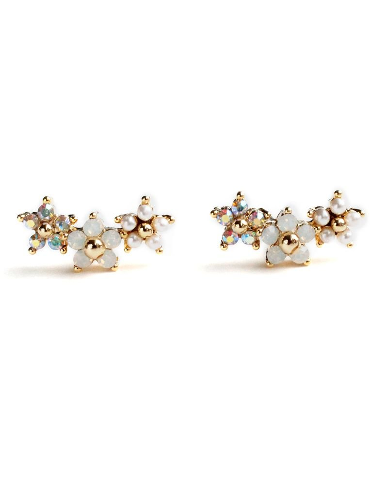 Floral Climber Earrings White