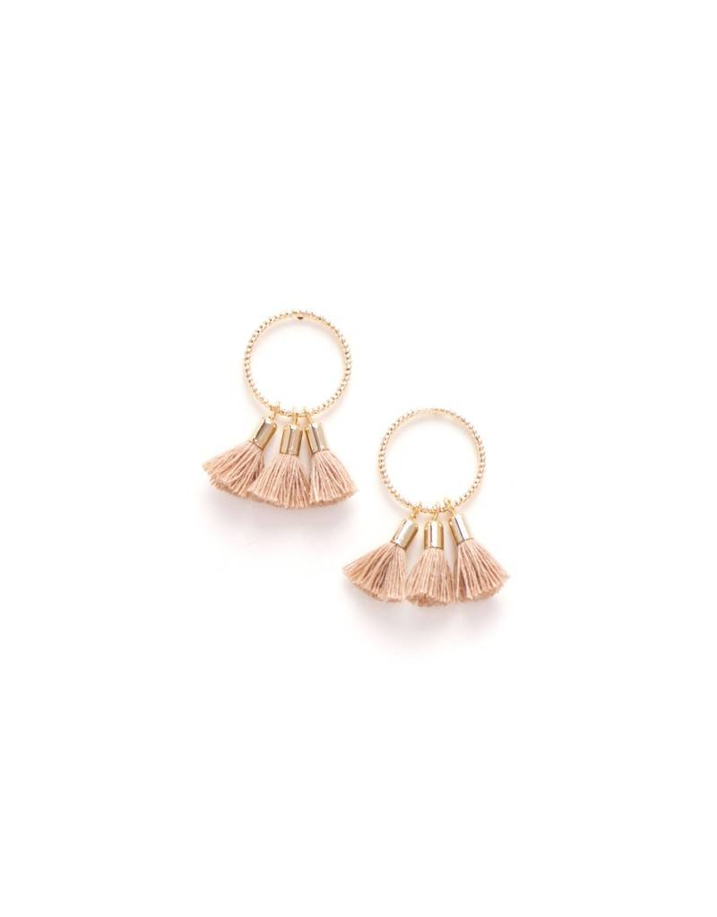 Duster Triple Tassel Earrings Nude