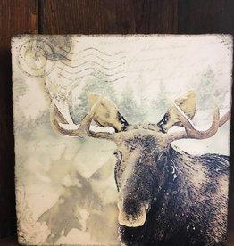 Snowy Moose Art Block