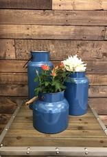 Blue Metal Handled Vases