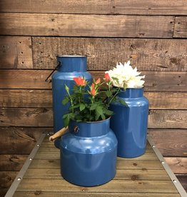 Blue Metal Handled Vases