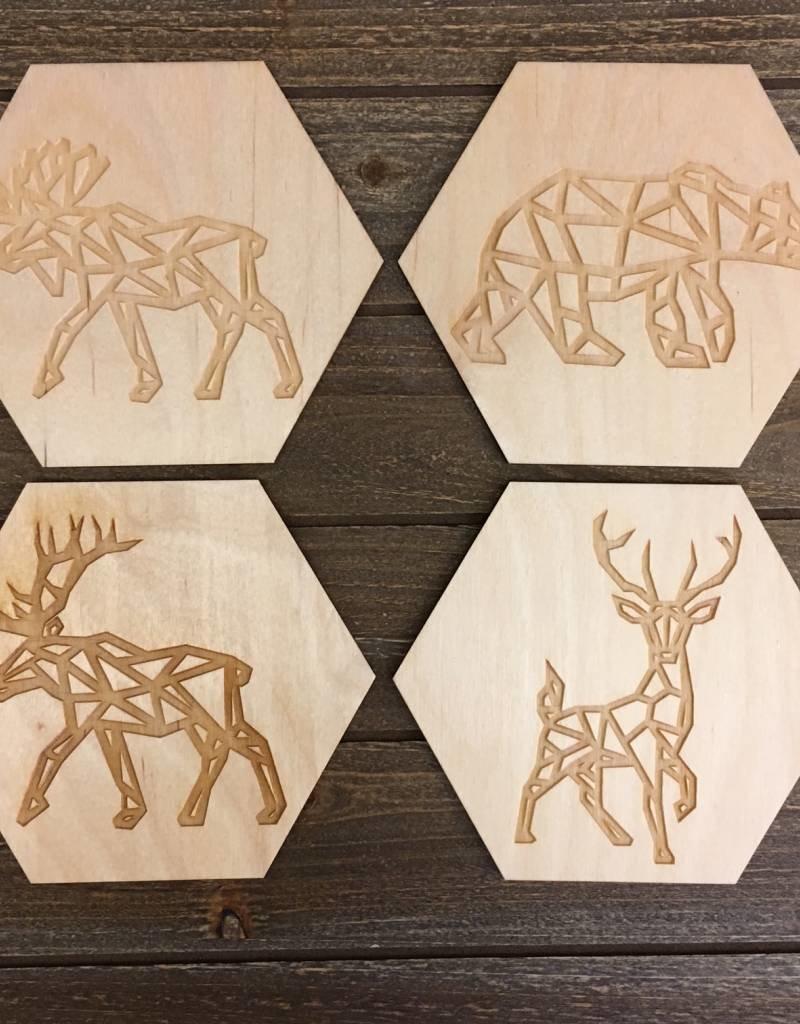 Wild Wolves Animal Coaster (set of 4)