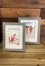 Rustic Picture Frame- Grey Frame White Border