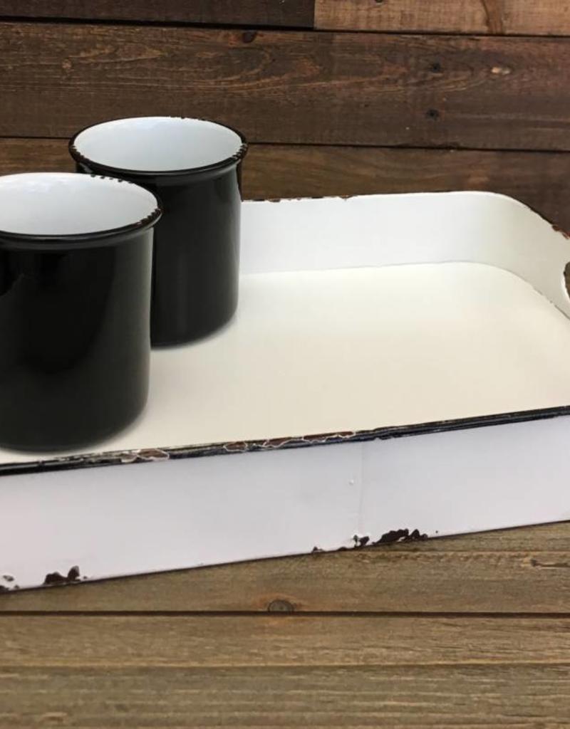 Enamel Rectangle Tray- Vintage Style (Black)