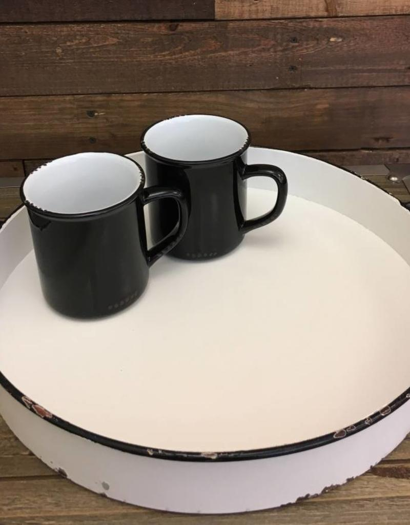 Round Tray with Handles  (BLACK)