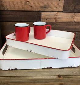 Enamel Rectangle Tray- Vintage Style (Red)
