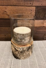 "Bark wrapped candle 3 wick 5""x3"""