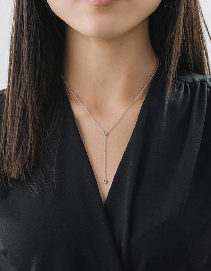 Duet Lariat Silver and Clear