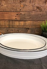 White Oval Enamel Trays