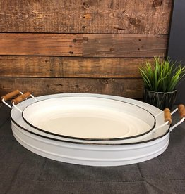 White Oval Enamel Trays