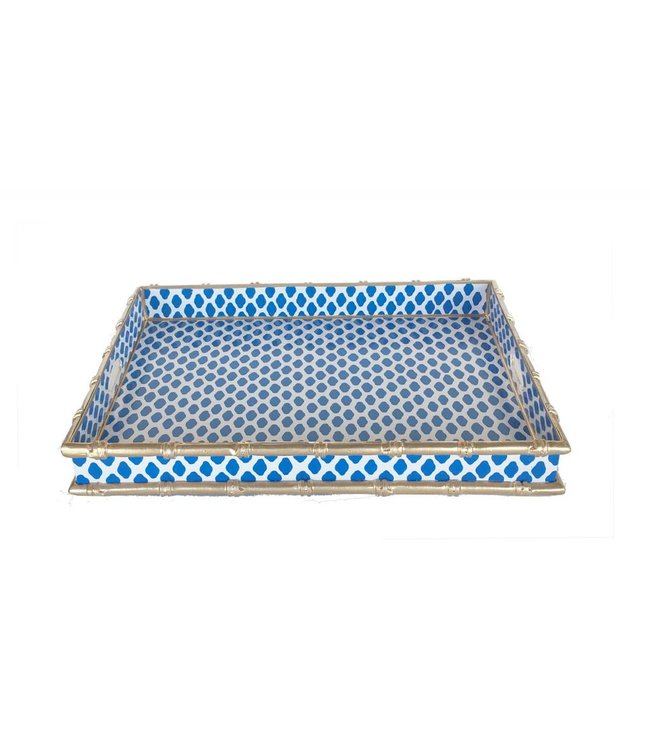 Bamboo Serving Tray in Navy Parsi