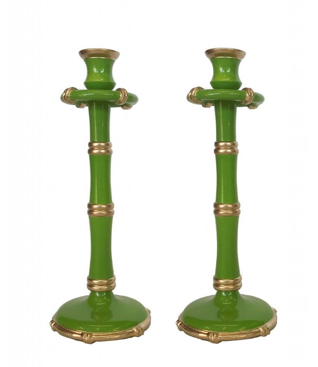 Pair of Tall Bamboo Candlesticks in Green