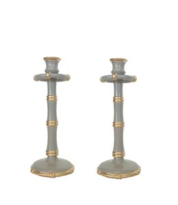 Pair of Bamboo Candlesticks in Grey