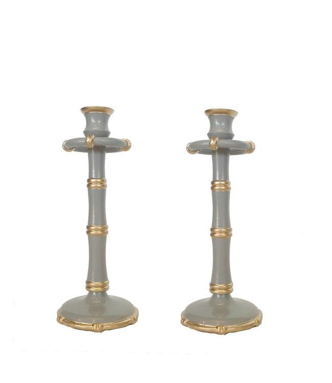 Pair of Tall Bamboo Candlesticks in Grey