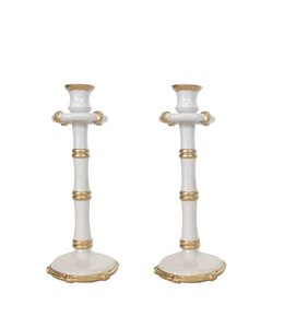Pair of Tall Bamboo Candlesticks in White