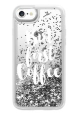 Casetify /// Casetify | iPhone 8/7/6/6s Glitter Case But First Coffee (Silver) | 120-0997