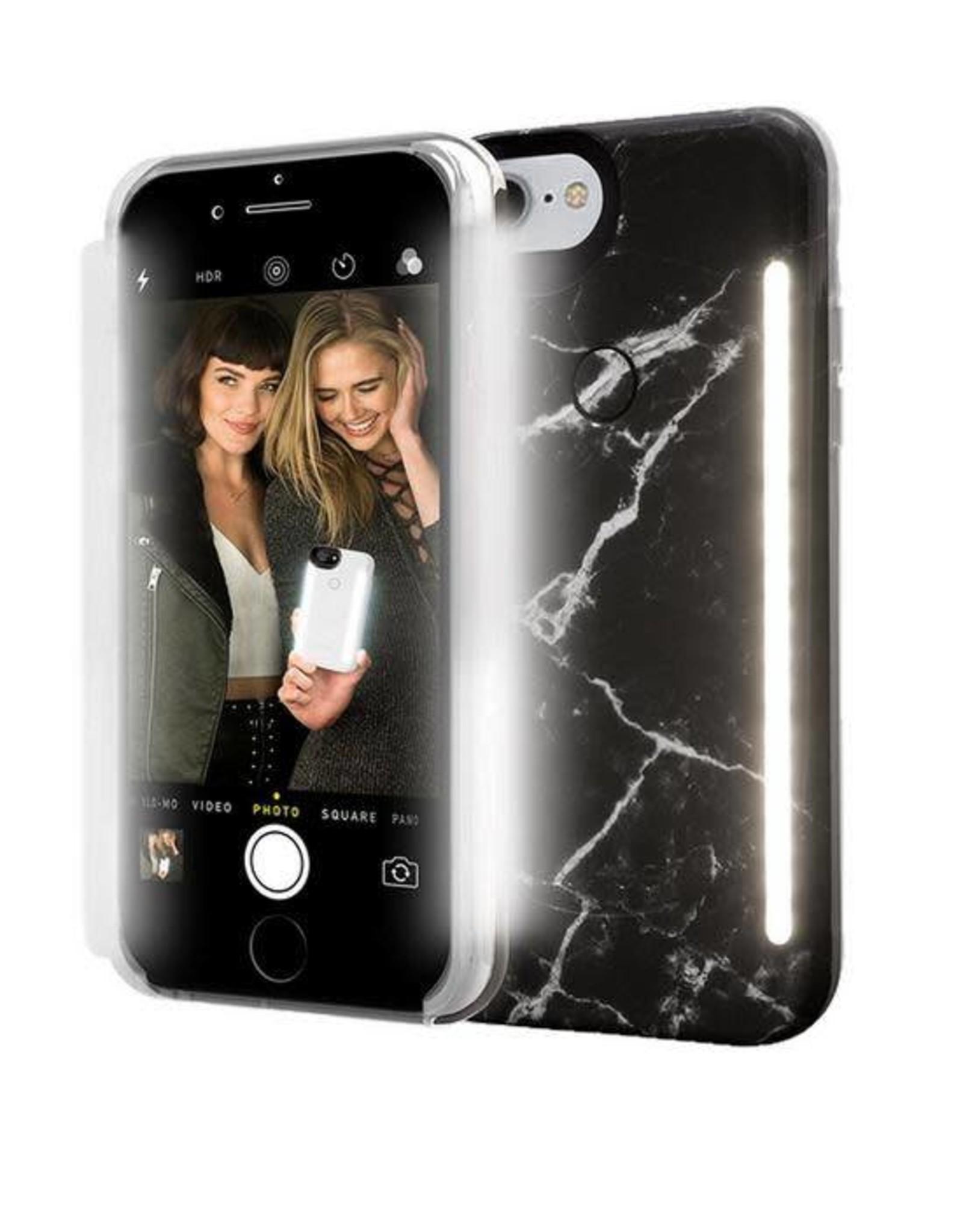 LuMee | iPhone 8/7/6/6s+ Duo Illuminating Case Black Marble | LM-LD-IP8P-BMR