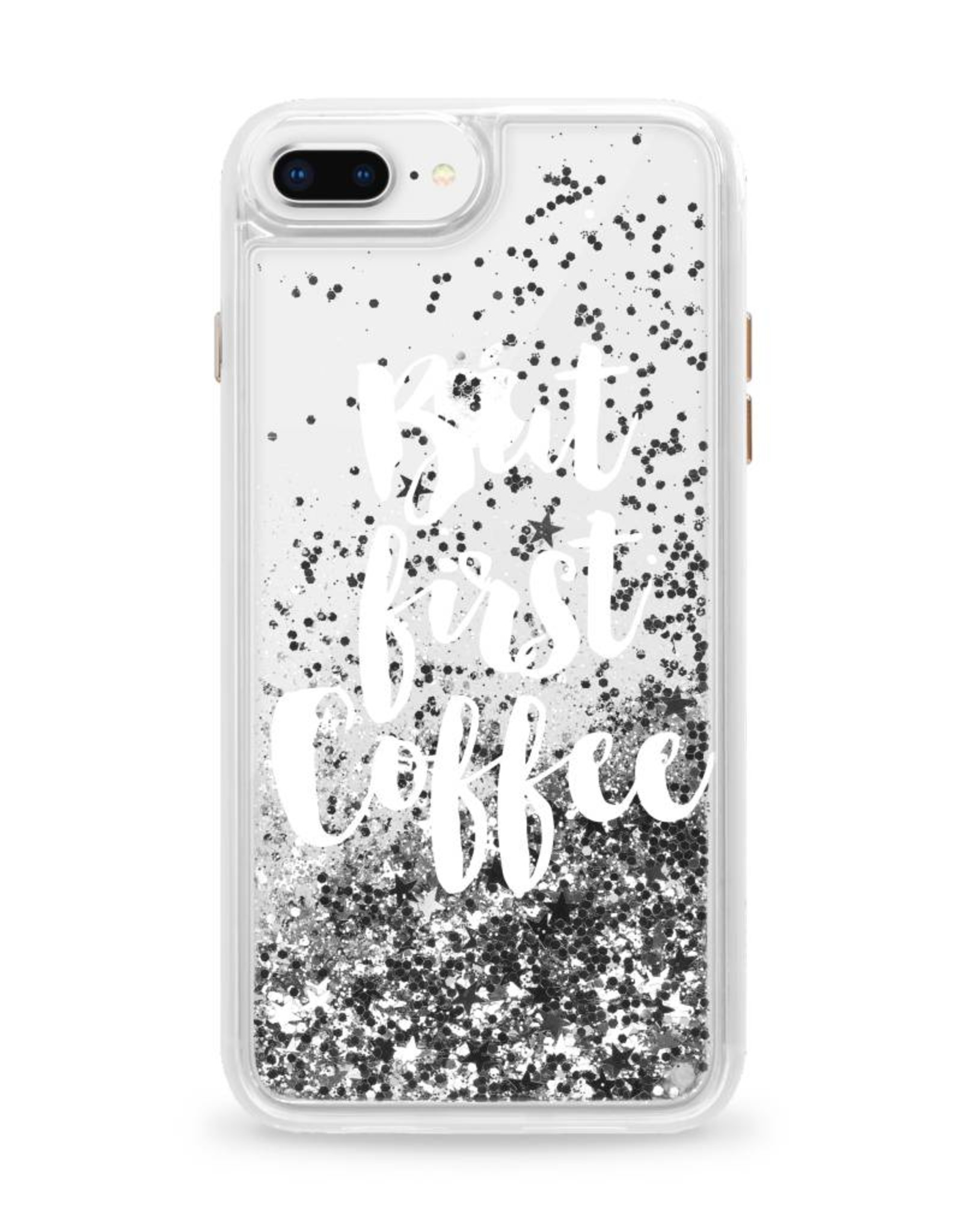 Casetify /// Casetify | iPhone 8/7/6/6s+ Glitter Case But First Coffee (Silver) | CTF3089604530701
