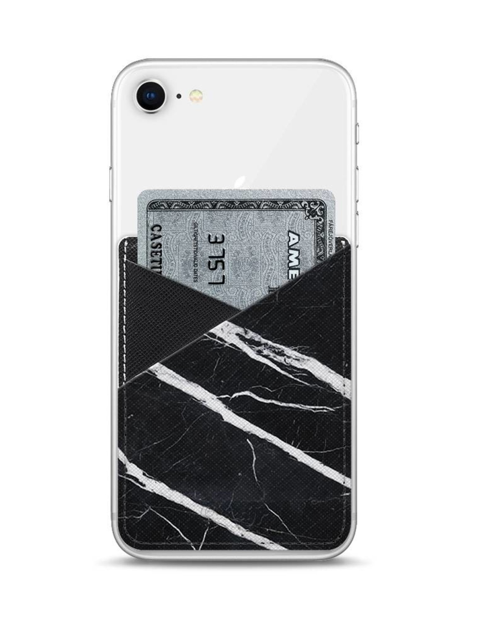 Casetify /// Casetify | Saffiano Leather Pocket Black Marble | 115-1794