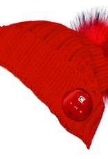 Caseco Caseco | Blu-Toque Lush Series- Ruby Red Bluebooth Beanie- Red Fur Pom | C51BT05