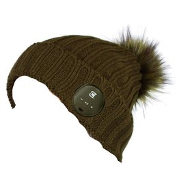 Caseco Caseco | Blu-Toque Lush Series- Olive Bluebooth Beanie- Green Fur Pom | C51BT04