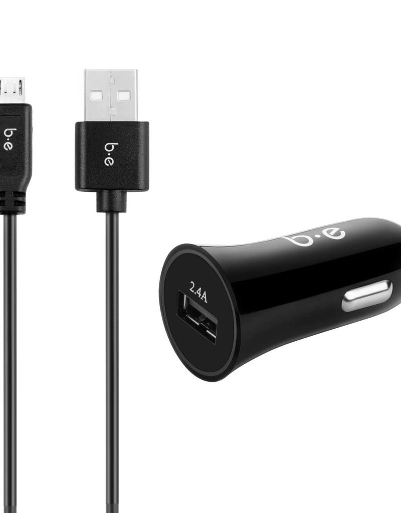 Blu Element Blu Element | Car Charger 2.4A w/Micro USB Cable Black | 110-3431