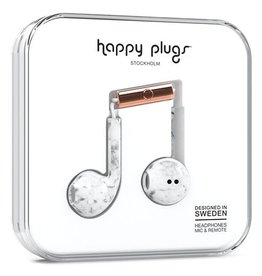 Happy Plugs Happy Plugs Earbuds Plus with Mic - Pattern BP White Marble 7828